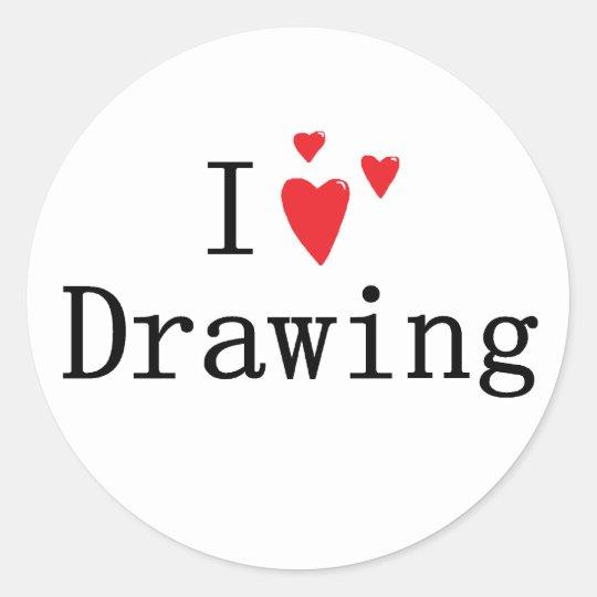 I Love Drawing Classic Round Sticker