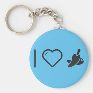 I Love Dried Chili Peppers Basic Round Button Key Ring