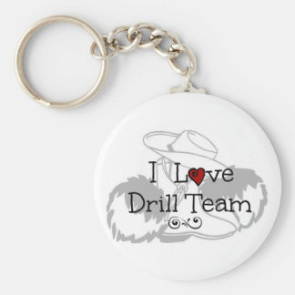 I Love Drill Team Basic Round Button Key Ring