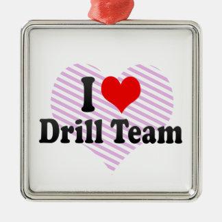 I love Drill Team Silver-Colored Square Decoration