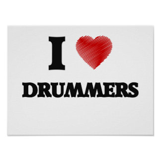 I love Drummers (Heart made from words) Poster
