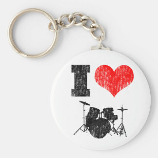 I Love Drums Basic Round Button Key Ring