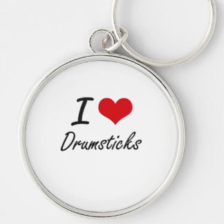 I love Drumsticks Silver-Colored Round Key Ring