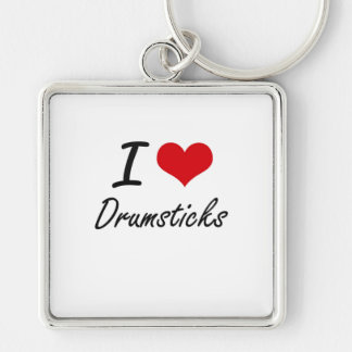 I love Drumsticks Silver-Colored Square Key Ring