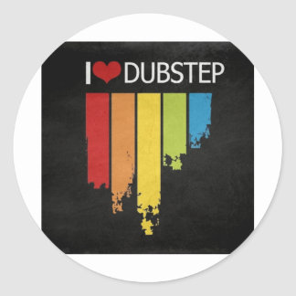 i love dubstep classic round sticker
