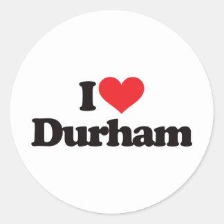 I Love Durham Round Sticker