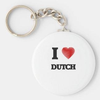 I love Dutch Basic Round Button Key Ring
