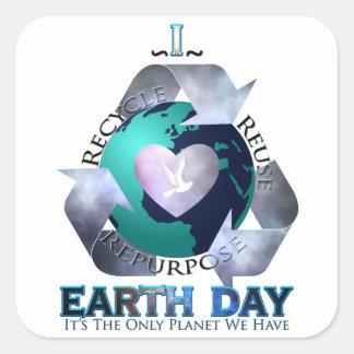 I Love Earth Day Square Sticker