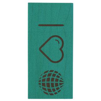 I Love Earth Fashions Wood USB 2.0 Flash Drive