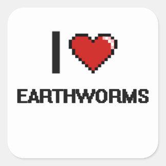 I love Earthworms Digital Design Square Sticker