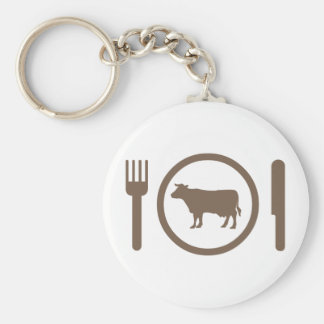 I Love Eat Cows Basic Round Button Key Ring