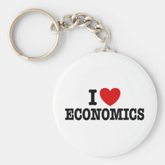 I Love Economics Basic Round Button Key Ring