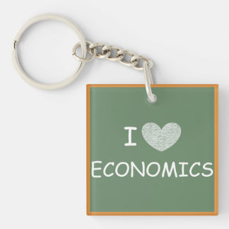I Love Economics Single-Sided Square Acrylic Key Ring