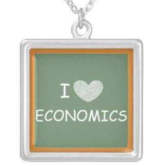 I Love Economics Square Pendant Necklace