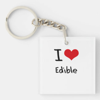 I love Edible Double-Sided Square Acrylic Key Ring