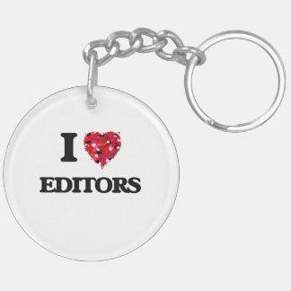 I love Editors Double-Sided Round Acrylic Key Ring