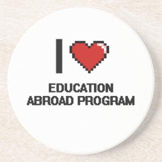 I Love Education Abroad Program Digital Design Drink Coaster