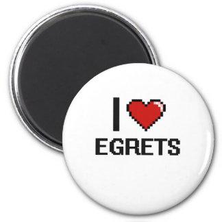 I love Egrets Digital Design 6 Cm Round Magnet