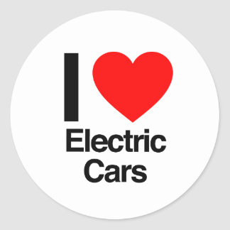 i love electric cars classic round sticker