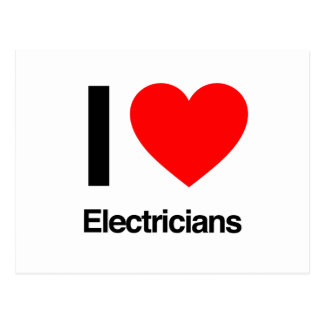 i love electricians postcard