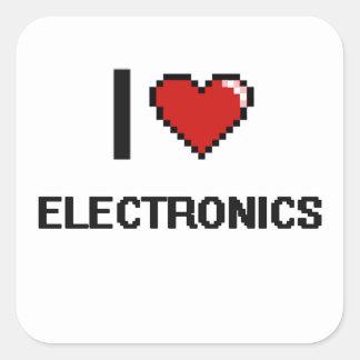 I Love Electronics Digital Retro Design Square Sticker