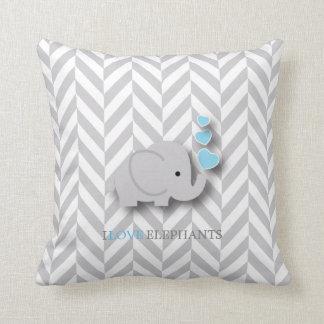 I Love Elephants - Baby Blue Cushion