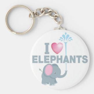 i love elephants basic round button key ring