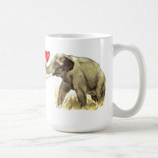 I Love Elephants Basic White Mug