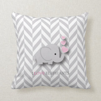 I Love Elephants - Pink Cushion