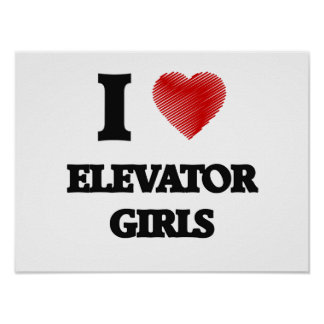I love Elevator Girls (Heart made from words) Poster