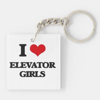 I love Elevator Girls Square Acrylic Key Chain