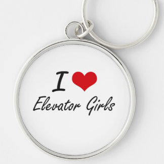 I love Elevator Girls Silver-Colored Round Key Ring