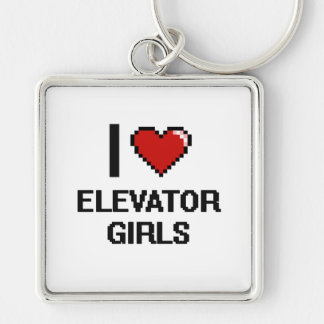 I love Elevator Girls Silver-Colored Square Key Ring
