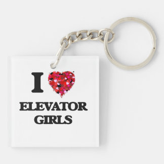 I love Elevator Girls Double-Sided Square Acrylic Key Ring