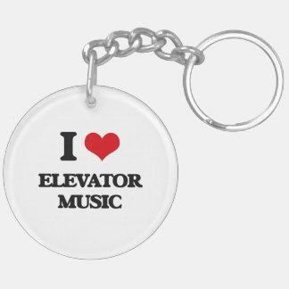 I love Elevator Music Double-Sided Round Acrylic Key Ring