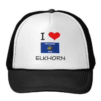 I Love Elkhorn Wisconsin Hats