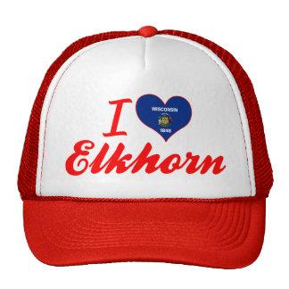 I Love Elkhorn, Wisconsin Trucker Hats