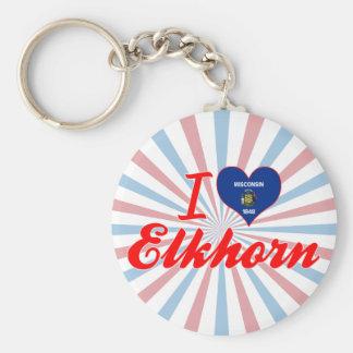 I Love Elkhorn, Wisconsin Keychain