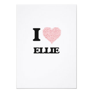 I love Ellie (heart made from words) design 13 Cm X 18 Cm Invitation Card