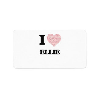 I love Ellie (heart made from words) design Address Label