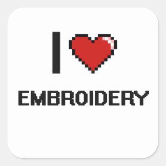 I Love Embroidery Digital Retro Design Square Sticker