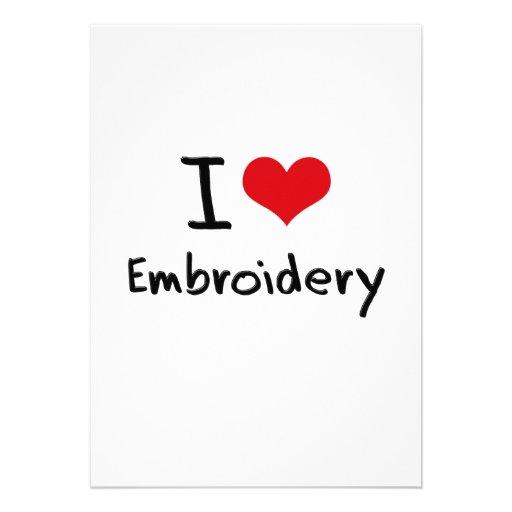 I love Embroidery Personalized Invitation
