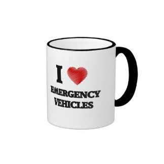 I love EMERGENCY VEHICLES Ringer Mug