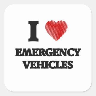 I love EMERGENCY VEHICLES Square Sticker