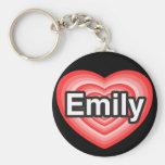 I love Emily. I love you Emily. Heart Key Chains