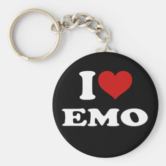 I Love Emo Basic Round Button Key Ring