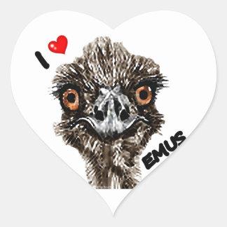 I LOVE EMUS HEART STICKER