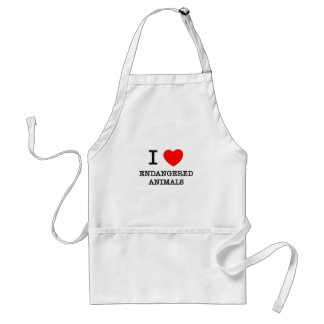 I love Endangered Animals Adult Apron