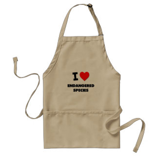 I love Endangered Species Adult Apron