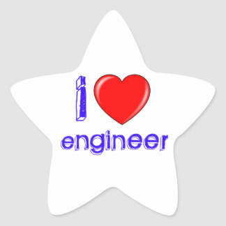 I Love Engineer Star Stickers